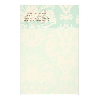 Monogram Brown & Aqua Blue Stationery