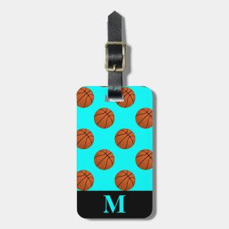 Monogram Brown Basketball Balls, Aqua Blue Luggage Tag