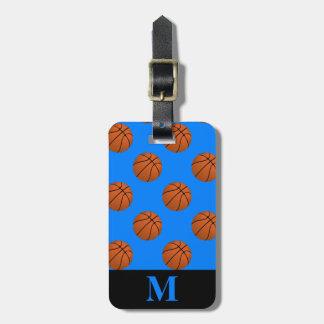 Monogram Brown Basketball Balls, Azure Blue Luggage Tag
