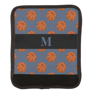 Monogram Brown Basketball Balls, Blue Jeans Blue Luggage Handle Wrap