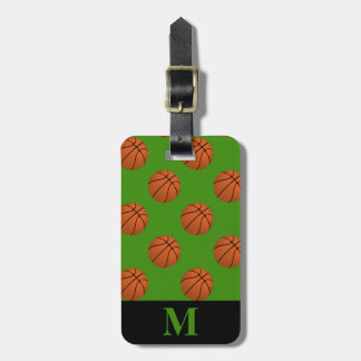 Monogram Brown Basketball Balls, Green Luggage Tag