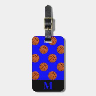 Monogram Brown Basketball Balls on Blue Luggage Tag
