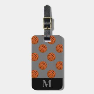Monogram Brown Basketball Balls on Gray Luggage Tag