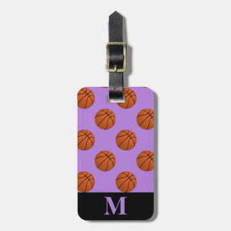 Monogram Brown Basketball Balls on Lavender Purple Luggage Tag