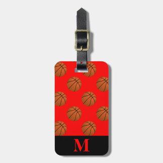 Monogram Brown Basketball Balls on Red Luggage Tag