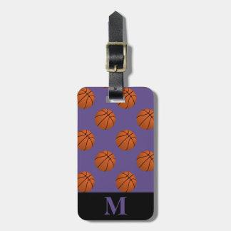 Monogram Brown Basketball Balls on Ultra Violet Luggage Tag