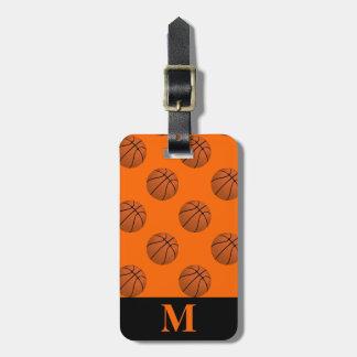 Monogram Brown Basketball Balls, Orange Luggage Tag