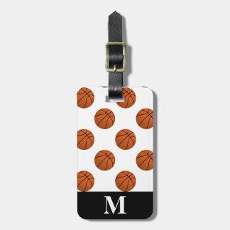 Monogram Brown Basketball Balls, White Luggage Tag