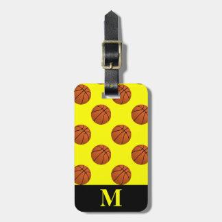 Monogram Brown Basketball Balls, Yellow Luggage Tag