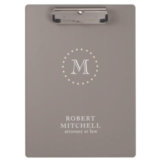 Monogram Brown Classic Elegant Business Clipboard