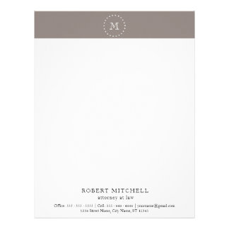 Monogram Brown Elegant Professional Letterhead