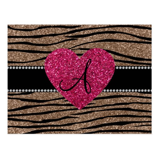 Monogram brown glitter zebra stripes pink heart postcards
