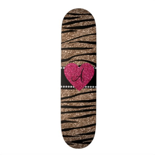 Monogram brown glitter zebra stripes pink heart skate board decks