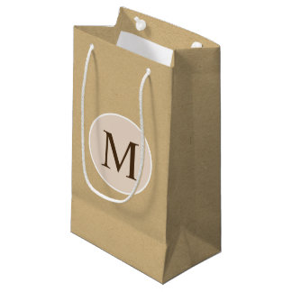 Monogram Brown Kraft Paper Texture Small Gift Bag