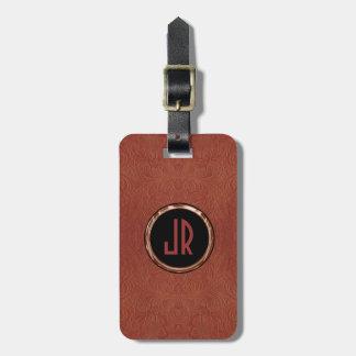 Monogram Brown Suede Leather Floral Design Luggage Tag
