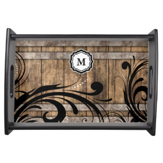 Monogram Brown Weathered Wood Swirly Pattern Serving Tray