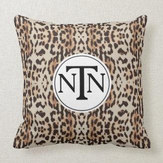 Monogram Brown Wild Leopard Print Throw Pillow
