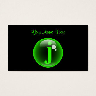 Monogram Bubble J Business Card
