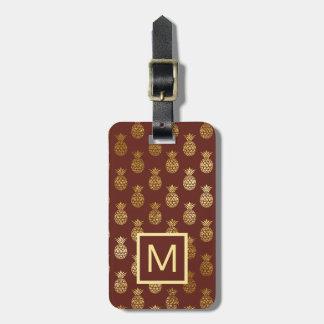 Monogram | Burgundy & Bronze Pineapples Bag Tag