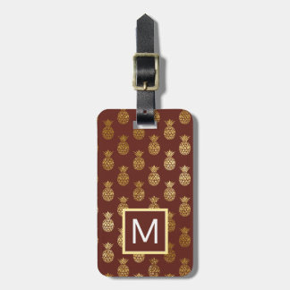 Monogram   Burgundy & Bronze Pineapples Luggage Tag