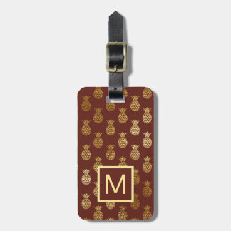 Monogram | Burgundy & Bronze Pineapples Luggage Tag