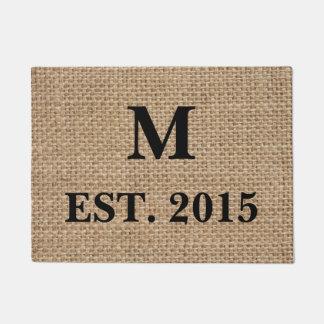 Monogram Burlap Doormat