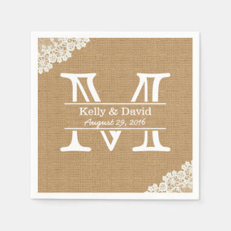 Monogram Burlap & Lace Rustic Wedding Disposable Napkins
