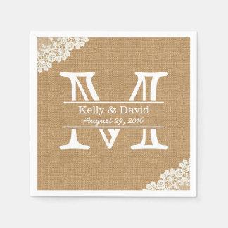 Monogram Burlap & Lace Rustic Wedding Disposable Napkins
