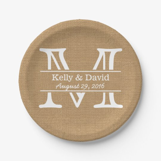 Monogram Burlap Texture Rustic Wedding 7 Inch Paper Plate