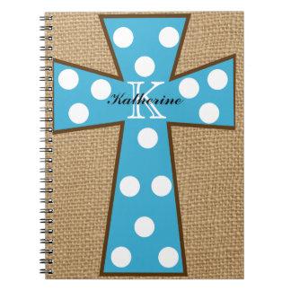 Monogram Burlap & Turquoise Cross Spiral Notebook