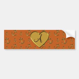 Monogram burnt orange gold anchors pattern bumper stickers