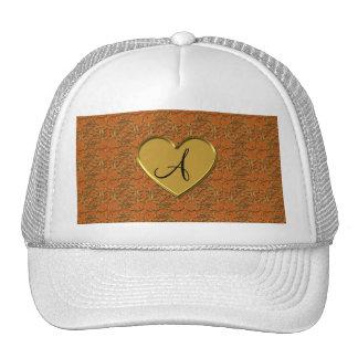 Monogram burnt orange gold moroccan damask trucker hat