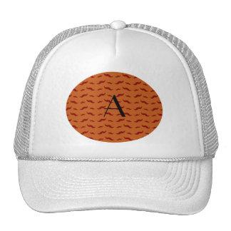 Monogram burnt orange mustache pattern trucker hat