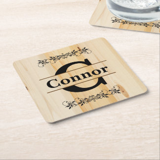 Monogram Butcher Block Natural Wood Look Square Paper Coaster