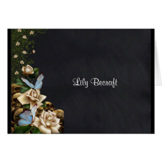 Monogram Butterfies & Roses Note Card