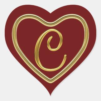 Monogram C in 3D gold Heart Sticker