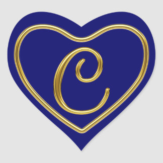 Monogram C in 3D gold REV1 Heart Sticker