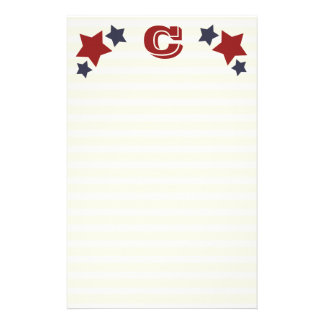Monogram C / Initial C Stars & Stripes Stationery
