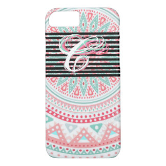 "Monogram ""C"" on Colorful Tribal. iPhone 8/7 Case"