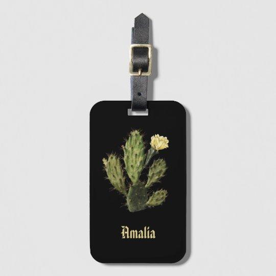 Monogram Cactus Flower Vintage Black Luggage Tag