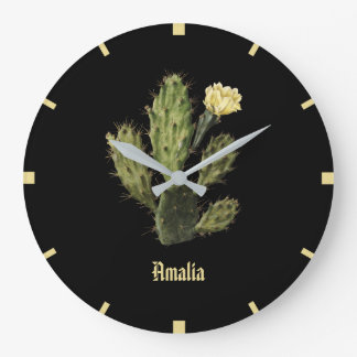 Monogram Cactus Flower Vintage Black Wall Clock