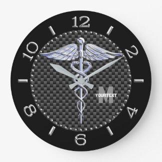 Monogram Caduceus Medical Symbol on Black Carbon Large Clock