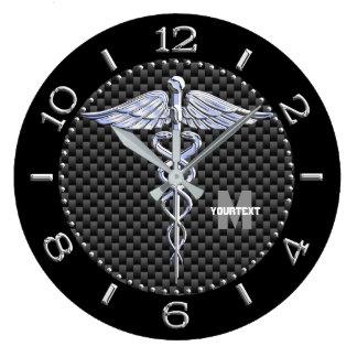 Monogram Caduceus Medical Symbol on Black Carbon Wall Clock
