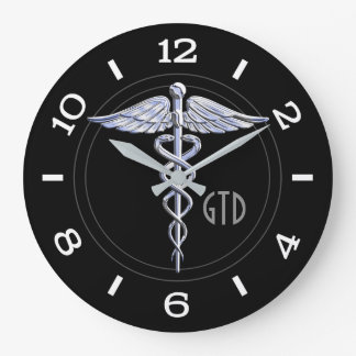 Monogram Caduceus Medical Symbol on Black Clock