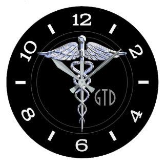 Monogram Caduceus Medical Symbol on Black Large Clock