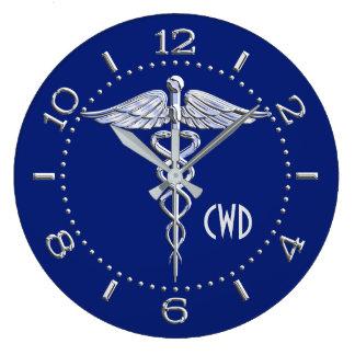 Monogram Caduceus Medical Symbol on Blue Wallclock