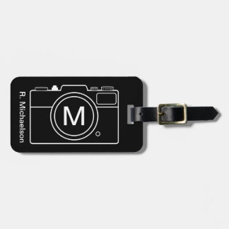 Monogram Camera Luggage Tag - Black & White