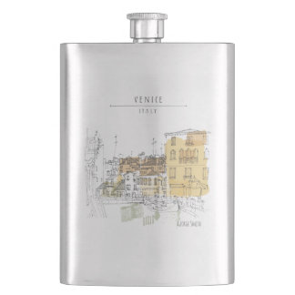 Monogram. Canal in Venice Italy. Europe. Hip Flask