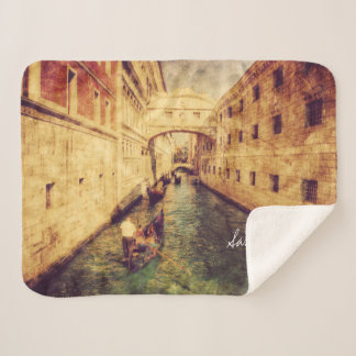 Monogram. Canal in Venice Italy. Europe. Sherpa Blanket