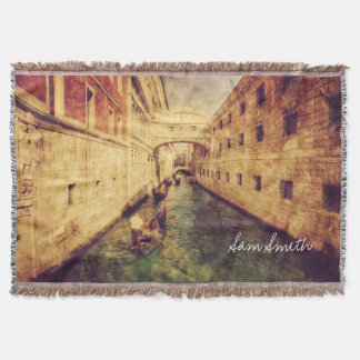 Monogram. Canal in Venice Italy. Europe. Throw Blanket